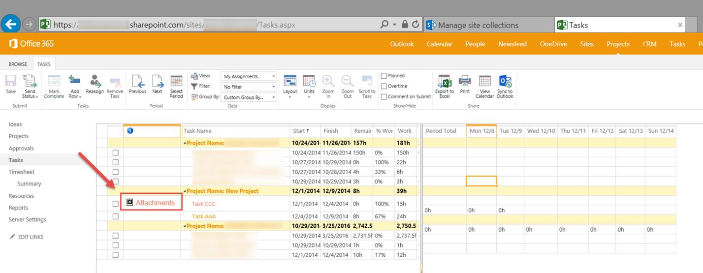 Microsoft Project Server 2010, Microsoft Project Server 2013, Microsoft Project Online. - Иконка связи задачи с документом пропадает в Office 365